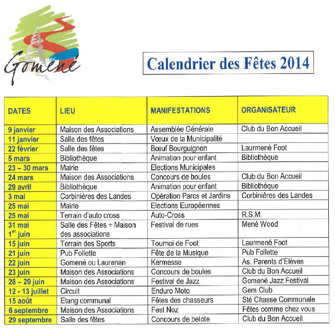 Calendrier fêtes 2014