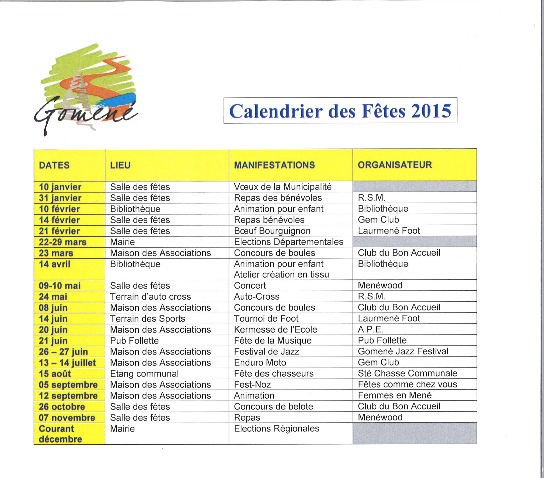Calendrier fêtes 2015