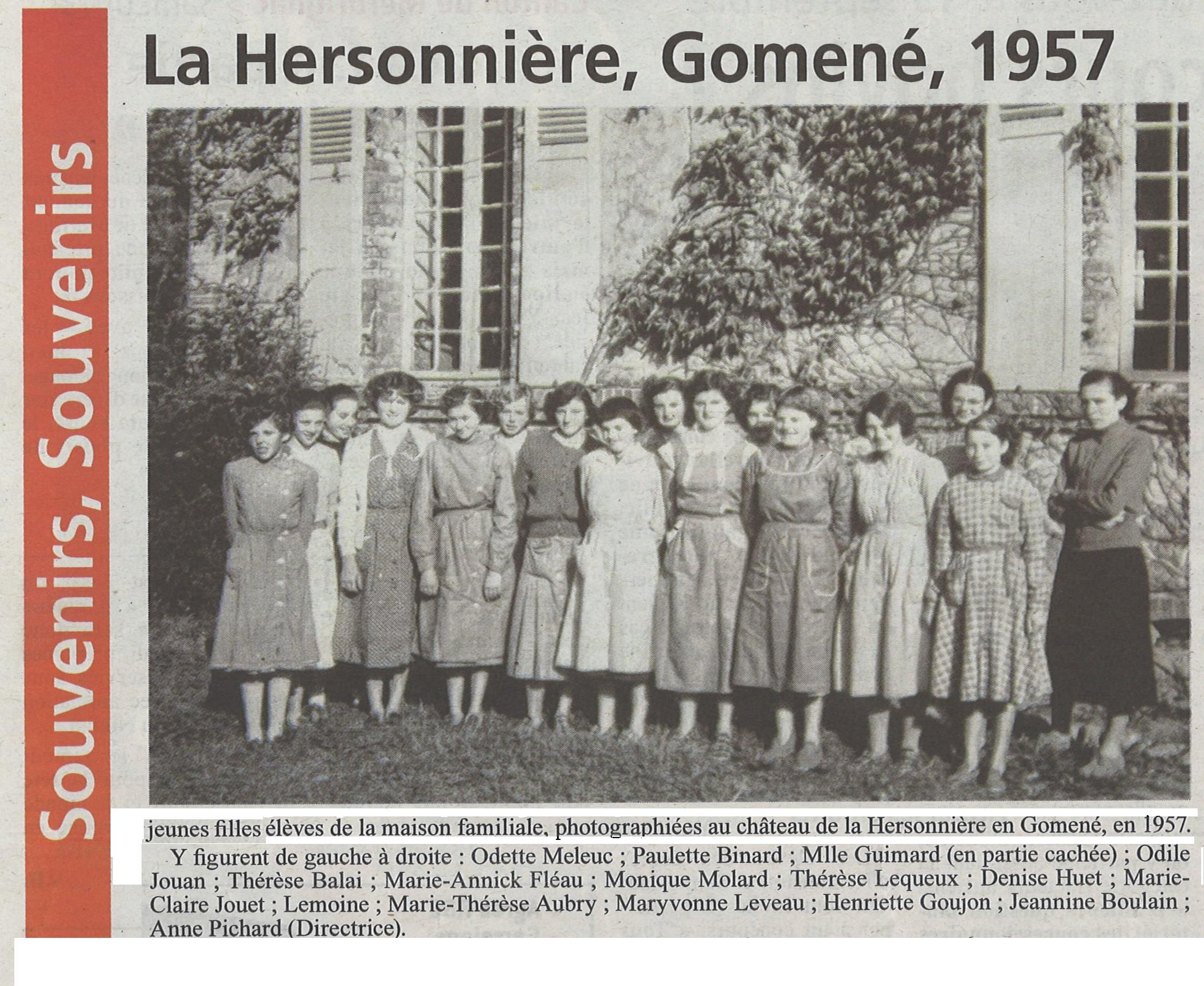 Jeunes filles château Hersonnière 1957