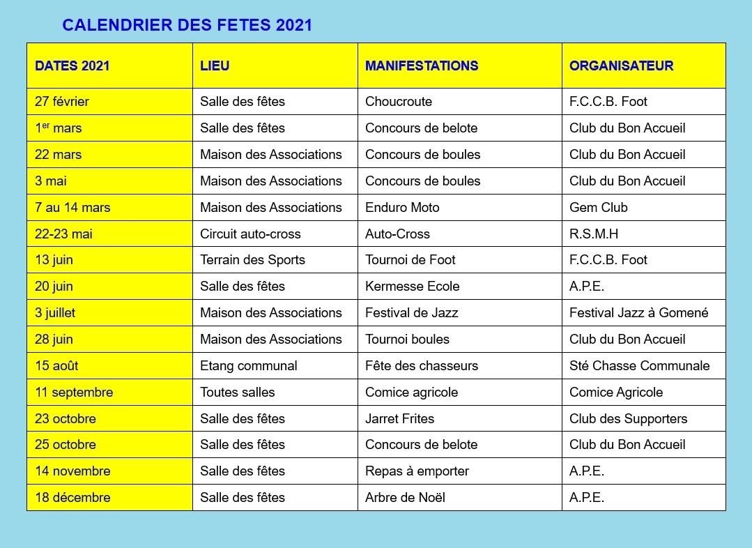 Calendrier des Fêtes 2021